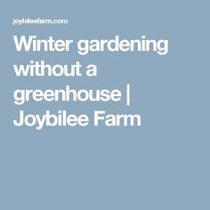 Winter gardening without a greenhouse | Joybilee Farm