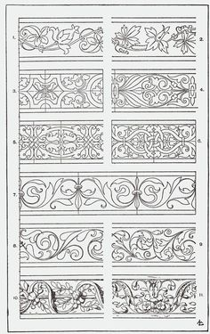 "From, ""A Handbook of Ornament"". 1898 by Franz Sales Meyer. Border Design, Pattern Design, Bordado Jacobean, Stencils, Carving Designs, Leather Pattern, Illuminated Manuscript, Pyrography, Islamic Art"