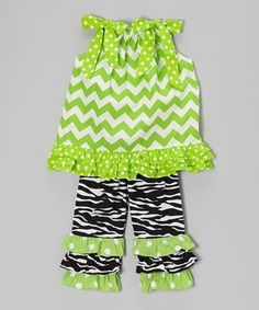 Love this Green Zigzag Tunic & Black Ruffle Pants - Infant, Toddler & Girls by Sew Childish on #zulily! #zulilyfinds