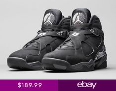 separation shoes d25b4 88f9a Nike Air Jordan 8 VIII Retro Chrome Black White Graphite 305381 003