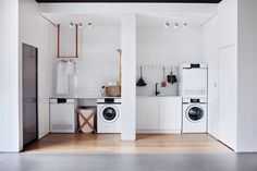 A length of peg rail corrals a few cleaning essentials in the laundry room. See Steal This Look: All-White Laundry Room in Melbourne. Beautiful Space, Home, Small Spaces, House, White Laundry Rooms, Laundry In Bathroom, Room, Laundry Room Storage, Room Design