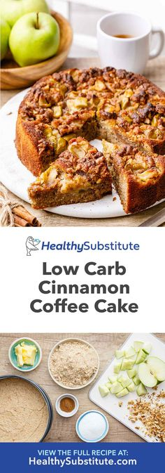 Kuchen Low Ca Scrumptious Low Carb Cinnamon Coffee Cake - Healthy Substitute Paleo Recipes, Low Carb Recipes, Baking Recipes, Whole Food Recipes, Meal Recipes, Low Carb Cake, Low Carb Desserts, Bolos Low Carb, Cinnamon Coffee