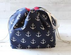 FINCH BUCKET (Anchor) extra-tall, supersized project bag, toy basket by Stitch Mischief Toy Basket, Navy Anchor, Yarn Bowl, Hand Dyed Yarn, Knitting Projects, Fabric Design, Bucket Bag, Stitch, Sewing