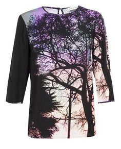 MARY KATRANTZOU Spire Tree Printed Silk Top at ShopStyle