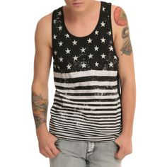 XXX RUDE Americana Tank Top ($11) ❤ liked on Polyvore featuring men's fashion, men's clothing, men's shirts, men's tank tops, mens american flag shirt and mens america tank top