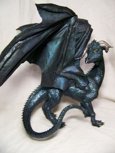 OOAK black DRAGON fantasy polymer clay art doll by redwyvernstudio, $650.00