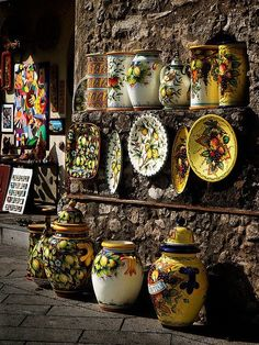 Ceramic shop in Ravello, Italy. I'd faint if i stumbled on this while traveling.  Expensive trip...ha!