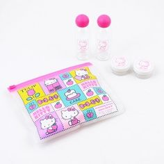 Hello Kitty Travel Case Set by Sanrio. $16.99. This travel set is compact and stores neatly and securely in a waterproof vinyl pouch. Included are a shampoo bottle, a conditioner bottle, and 2 mini containers for face cream or hair gel.Material: Plastic, Acrylic, VinylContents: 2 x bottles2 x cream containers1 x pouchSize: Each Bottle: Height: 3.75 inches, Diameter: 1.25 inches, Each Cream Container: Height: .75 inches, Diameter: 1.5 inches, Pouch: 6.4 x 5.5 inches