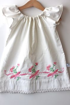 Vintage pillowcase upcycled into flutter sleeve dress tute