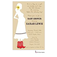 Western Mom to be with red cowboy boots baby shower Invitation for boy or girl.