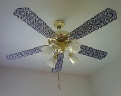 How to cover ceiling fan blades with fabric, ceiling fan makeover ideas. Ceiling Fan Blade Covers, Ceiling Fan Blades, Painted Fan Blades, Fan Light Covers, Painting Ceiling Fans, Decorative Ceiling Fans, Ceiling Fan Makeover, Fabric Ceiling, Old Fan