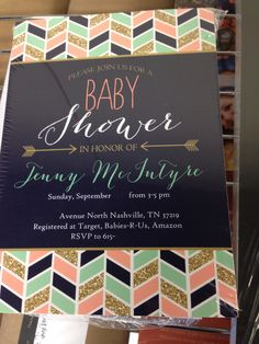 Pink, teal, navy and sparkly gold baby shower invites. Details have been removed.