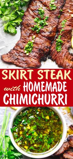 Grilled Skirt Steak With Chimichurri easy to make quickly marinated. Fresh juicy and tasty topped with homemade Chimichurri sauce. The post GRILLED SKIRT STEAK WITH CHIMICHURRI appeared first on Tasty Recipes. Flank Steak Tacos, Fajitas Au Steak, Balsamic Flank Steak, Marinated Skirt Steak, Skirt Steak Tacos, Sauce Steak, Steak With Chimichurri Sauce, Skirt Steak Recipes, Flank Steak Recipes