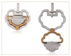The longevity lock brings good luck and health to the wearer. The lock wards off evil and 'locks' life. Our modern two tone gold and diamond pendant can be worn two ways!