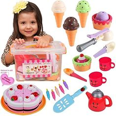 Pretend Play Food Ice Cream - Toy Food Desserts Cake - Play Tea set - with Beautiful Storage Box Baby Doll Nursery, Baby Girl Toys, Toys For Girls, Toy Kitchen Set, Kids Play Kitchen, 1st Birthday Girl Dress, Bday Girl, Minnie Mouse Toys, Best Kids Watches