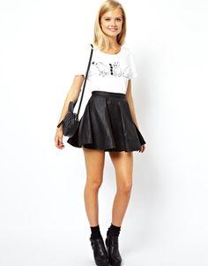 ASOS-Skater Skirt in Leather