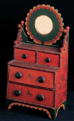 MINIATURE DRESSING BUREAU | American Folk Art Museum. Attributed to Hanson B. Y[o]ungs (c. 1858–1878) Conesville, New York 1872–1878 Paint on cigar-box wood with cigar-box cardboard and mirror