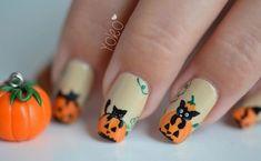 Cat and pumpkin nails