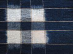 Antique Japanese Deep Indigo Kasuri Ikat Textile by Mujostore