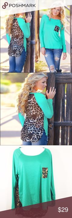 Long Sleeve Chiffon Top w/ Sheer Leopard Back Green long sleeve top with a leopard print pocket in the front and a sheer leopard print back. Tops Blouses
