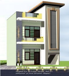 46 Trendy Ideas For House Design Exterior Simple Facades House Front Wall Design, Small House Design, Modern House Design, 3 Storey House Design, Bungalow House Design, Front Elevation Designs, House Elevation, Building Elevation, Shop House Plans