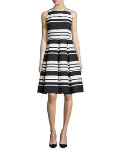 "kate spade new york striped sateen dress. Approx. length: 40""L down center back. Round neckline. Sleeveless; cut-in shoulders. Nips in at natural waist. A-line silhouette. Box-pleated skirt. Exposed b"