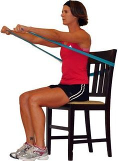 Do this Seated Upper Body Workout from Your Chair: Chest Press with Band