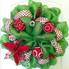 Christmas Poly Deco Mesh Wreath