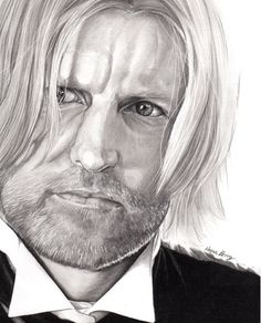 Woody Harrelson Haymitch Abernathy The Hunger Games, Celebrity Portrait, Graphite, black and white art, print,