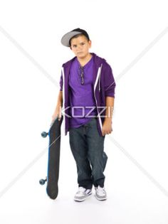 skateboard and kid - A skateboard and his boy on a white background
