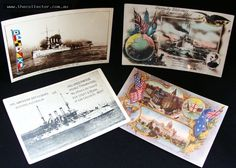 Group of Australian postcards celebrating the Visit of the American Fleet in 1908