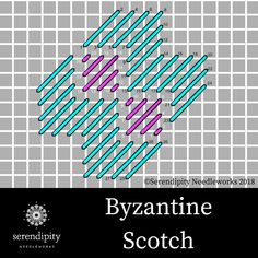 Byzantine Scotch stitch is an excellent choice for stitching streets and sidewalks on your needlepoint projects. Plastic Canvas Stitches, Plastic Canvas Tissue Boxes, Plastic Canvas Crafts, Plastic Canvas Patterns, Needlepoint Stitches, Needlework, Embroidery Stitches, Bargello, Machine Embroidery Projects