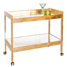 Worlds Away Roland Gold Leaf Bar Cart @Zinc_Door// I will find a way to DIY this. So in love <3