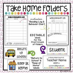 Managing papers that go from school to home can be a challenge. Use these EDITABLE labels and forms to get your Take Home Folders & Homework Folders set up and organized. Customize your labels and then print on 2 inch by 4 inch shipping labels. First Grade Classroom, Preschool Classroom, Classroom Ideas, Future Classroom, Kindergarten Classroom Management, Dinosaur Classroom, Kindergarten Calendar, Kindergarten Homework, Welcome To Kindergarten