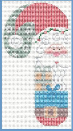 Santa w/present Candy Cane Ornament hand painted canvases - Amazing Share Needlepoint Stitches, Needlepoint Kits, Needlework, Cross Stitching, Cross Stitch Embroidery, Cross Stitch Designs, Cross Stitch Patterns, Candy Cane Ornament, Cross Stitch Christmas Ornaments
