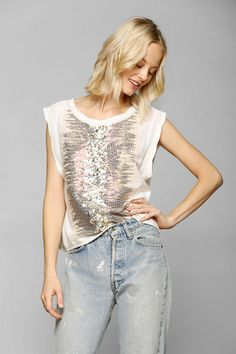 Ecote Sequin Muscle Tee