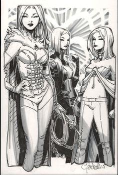 Chris Bachalo - Emma Frost White Queen Comic Art