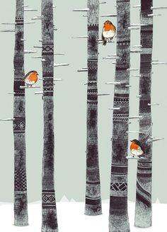 Robin Trees // A4 print by SandraDieckmann on Etsy, £12.00