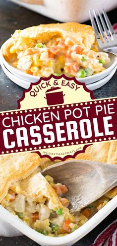 Here's a delicious recipe for dinner tonight! Chicken Pot Pie Casserole is an easy comfort food recipe with a creamy mixture of veggies topped with flaky Crescent Rolls. Pin this chicken idea! Chicken Pot Pie Casserole, Easy Chicken Pot Pie, Casserole Recipes, Slow Cooker Recipes, Beef Recipes, Chicken Recipes, Yummy Recipes, Quick Easy Meals, Easy Dinner Recipes