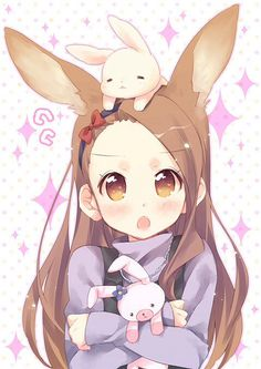 ✮ ANIME ART ✮ bunny girl. . .rabbit girl. . .rabbit ears. . .bunny plush. . .plush toys. . .hair bow. . .moe. . .cute. . .kawaii