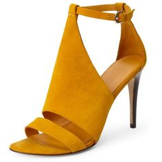 Theory Toscana Heel in Minorca Leather (275 CAD) ❤ liked on Polyvore featuring shoes, sandals, heels, zapatos, yellow, mustard, leather slingback sandals, leather sandals, heeled sandals and slingback shoes