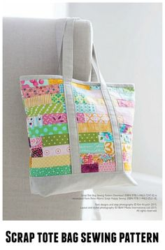 Here's an awesome scrap tote bag sewing pattern. Use up all those pretty scraps and make a beautiful everyday bag.