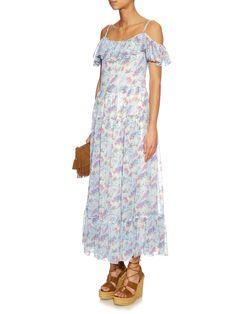 Crystal-strap floral-print silk maxi dress | Saint Laurent | MATCHESFASHION.COM UK
