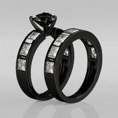 Rhodium Plating Heart Cut Black Diamond Sterling Silver Women's Engagement Ring / Bridal Ring Set
