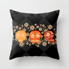 "Black Orange Day of the dead Scull Throw Pillow Cover Pillowcase 40x40 cm / 16""x16"" on Etsy, $25.00"