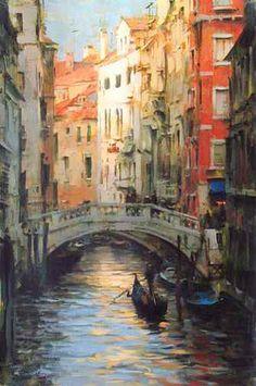 ART~ The Bridges Of Venice~ Painting by Dimitri Danish, Born Kharkiv, Ukraine Urban Landscape, Landscape Art, Landscape Paintings, Venice Painting, Italy Painting, Watercolor Landscape, Watercolor Art, Fine Art Gallery, Beautiful Paintings