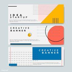 Set of minimal Memphis design start-up banner vect Minimal Graphic Design, Graphic Design Posters, Graphic Design Illustration, Poster Designs, Graphic Design Layouts, Layout Design, Graphic Art, Banner Design Inspiration, Web Banner Design