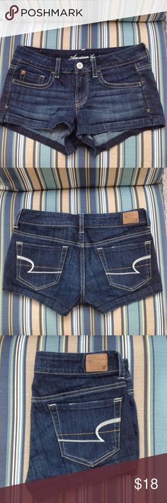 ✨ AMERICAN EAGLE {Dark Wash} SHORTIE Shorts ✨ Dark wash American Eagle shorts. Worn a few times. Looks brand new!! These shorts are in flawless condition. 98% cotton, 2% spandex. These shorts stretch giving extra comfort. American Eagle Outfitters Shorts