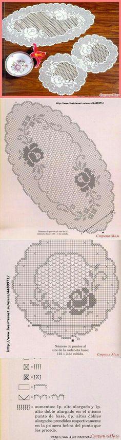 Kira scheme crochet: Tablecloth full of roses Filet Crochet, Crochet Doily Patterns, Tunisian Crochet, Crochet Chart, Thread Crochet, Crochet Designs, Crochet Doilies, Crochet Lace, Crochet Stitches