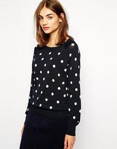 Image 1 ofBZR Jumper in Polka Dot Print Polka Dot Print, Polka Dot Top, Navy And White, Jumper, Asos, Style Inspiration, Sweatshirts, Womens Fashion, Sweaters